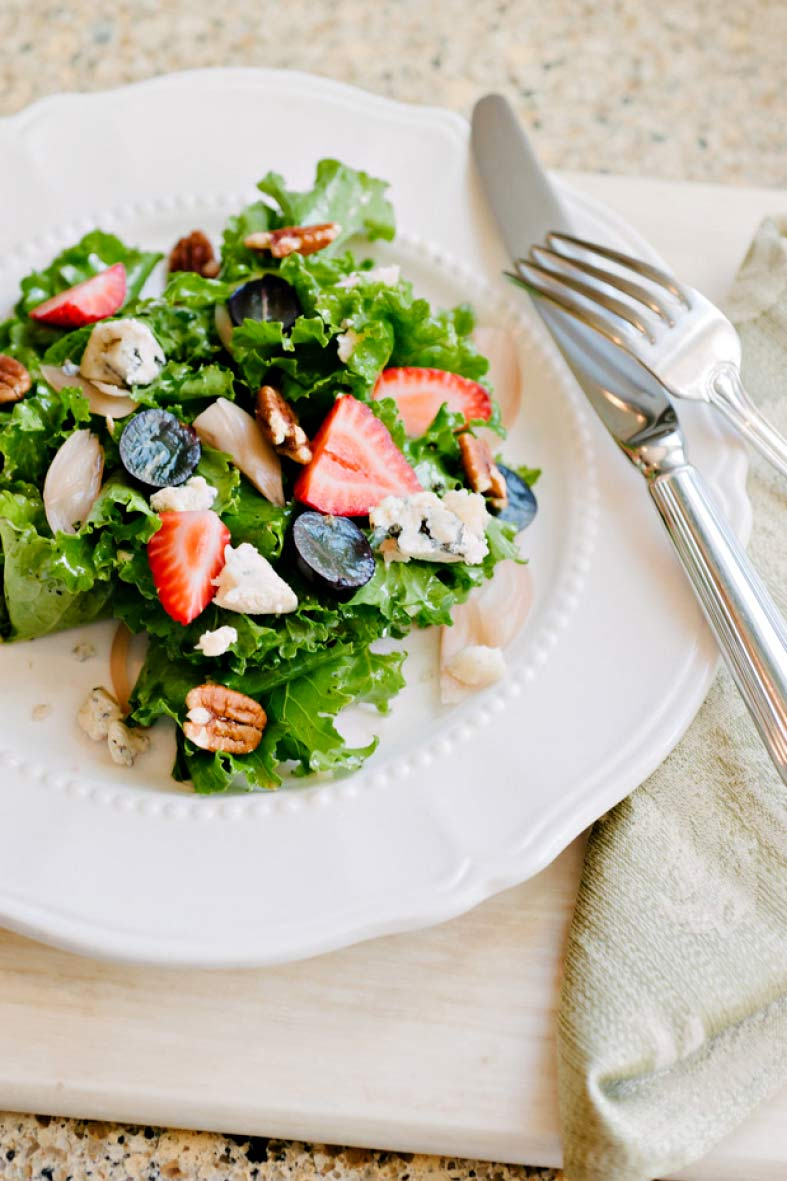 A fresh summer salad presented at an Amber House wine dinner