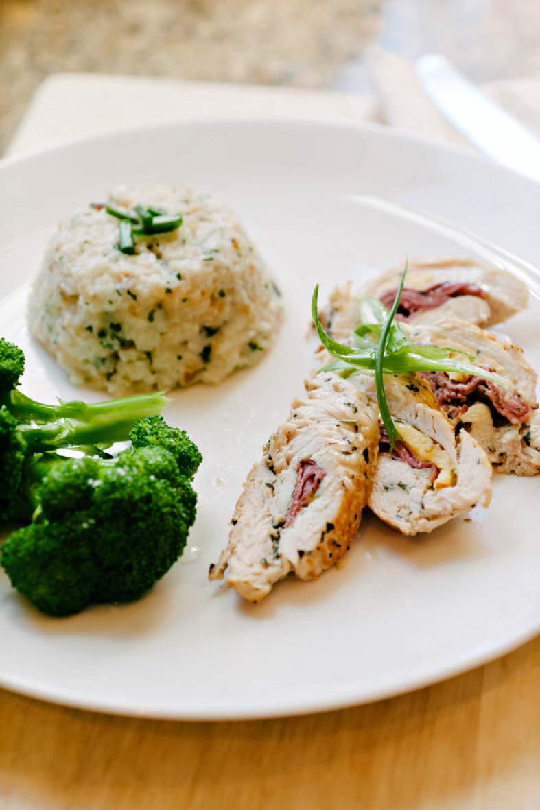 Dawson Claridge presents creative dishes like this chicken roulade