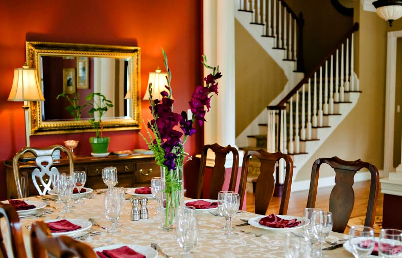 The best dinner in Rocheport is served at this elegant dining room table